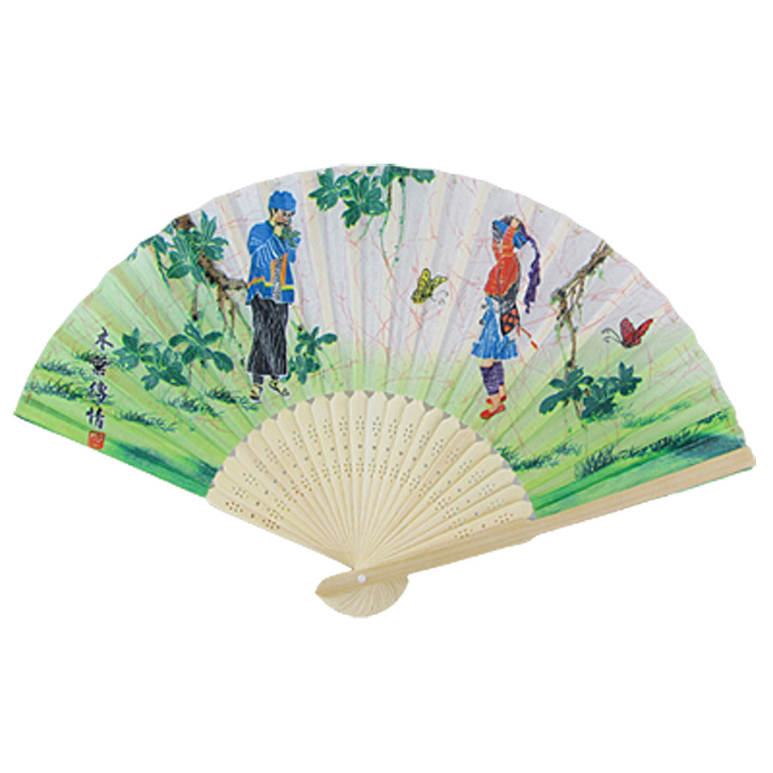 Foldable Chinese Minority Custom Print Fabric Hand Fan