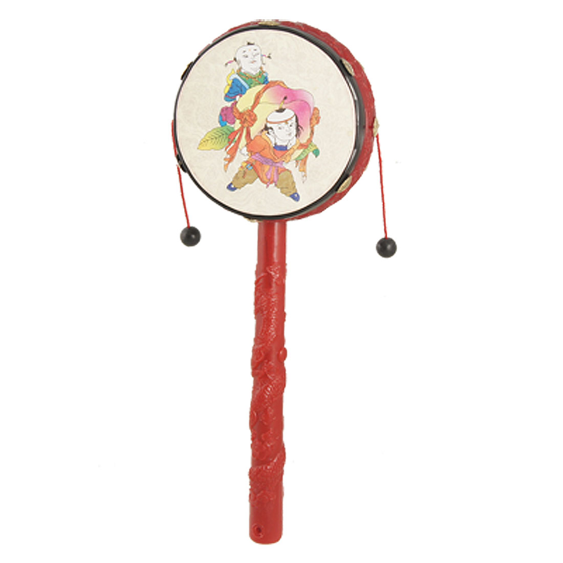Babies Red Dragon Carved Handle Rattle Drum Chinese Traditional Toy