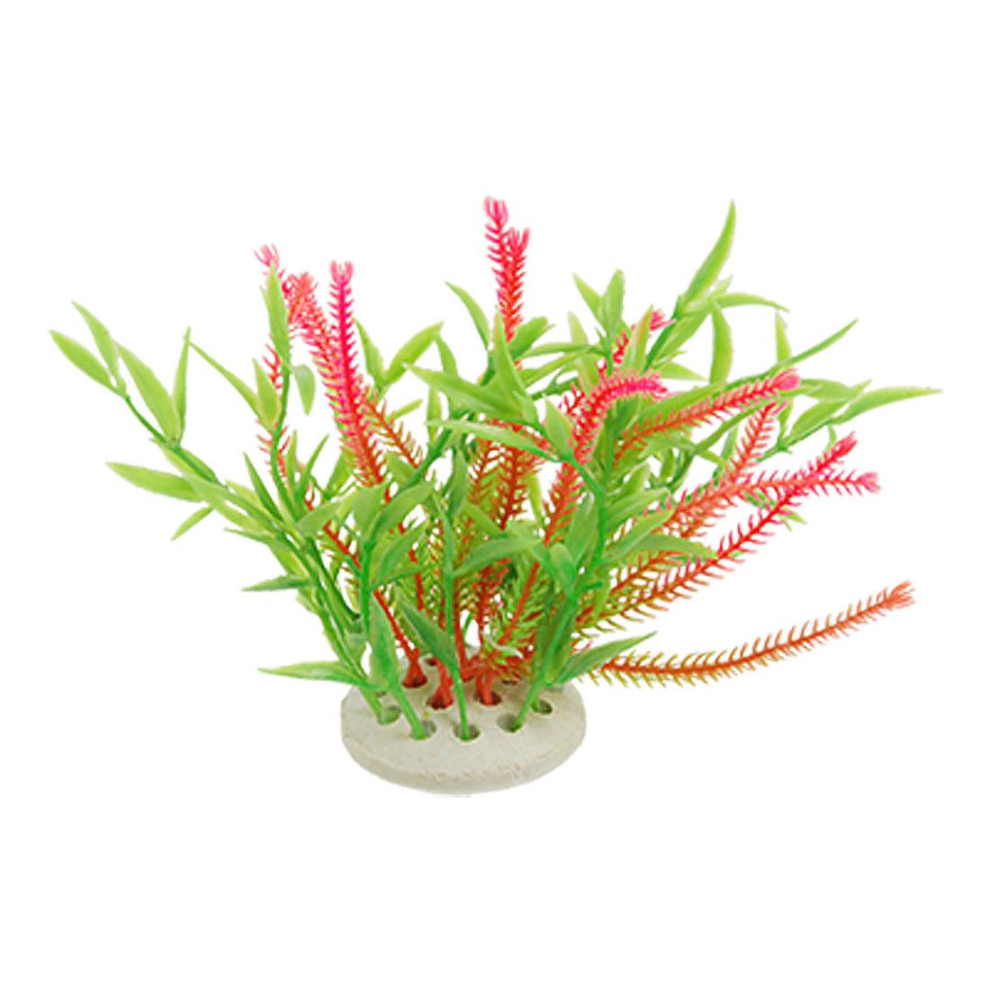 Fish Tank Round Ceramic Base Pink Green Plastic Plant Decoration