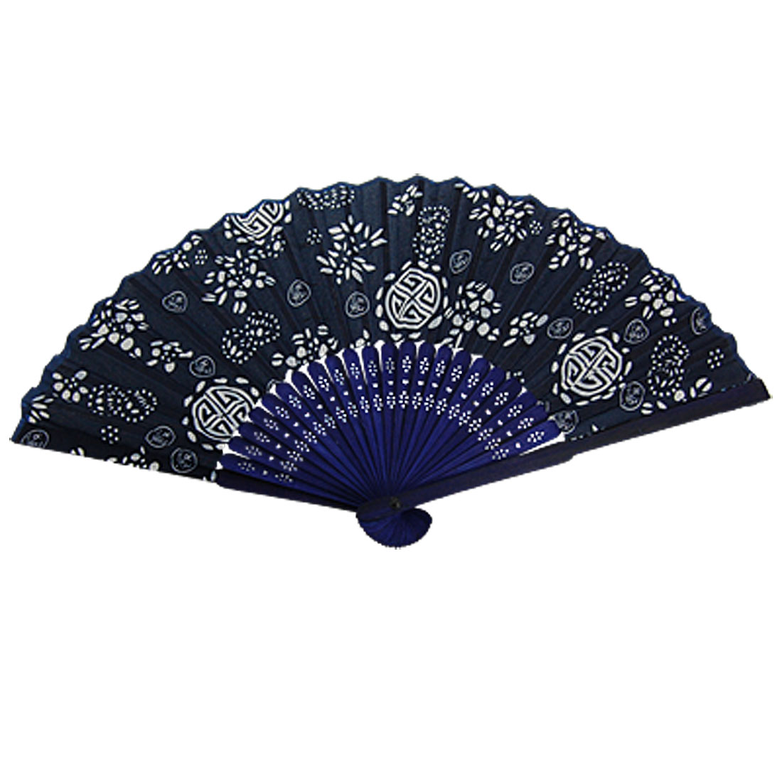 White Flower Print Dark Blue Fabric Foldable Dancing Hand Fan