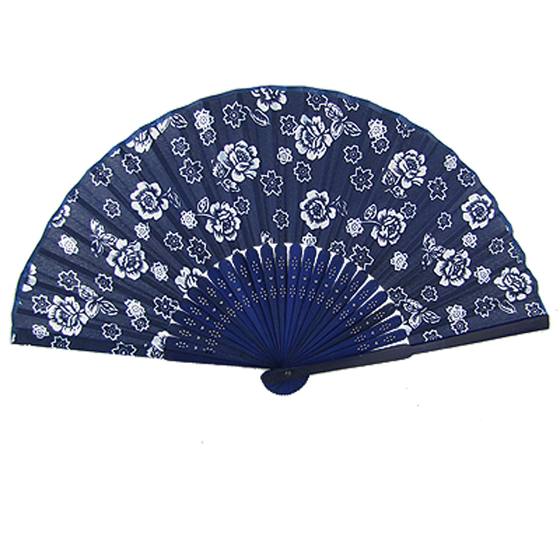 Dark Blue Bamboo Ribs Floral Fabric Folding Hand Fan