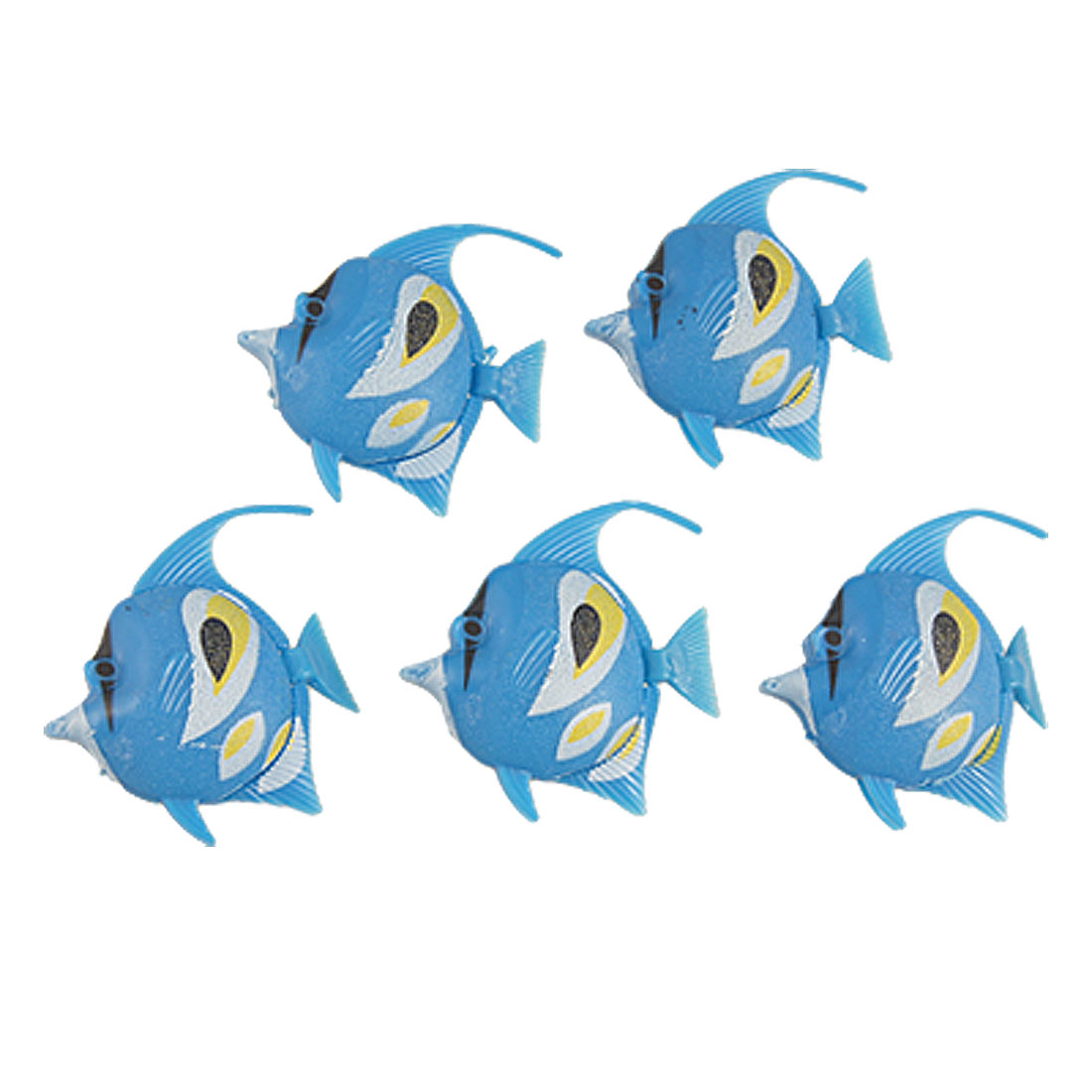 10 Pcs Artificial Blue Tail Plastic Floating Fish Ornament for Aquarium