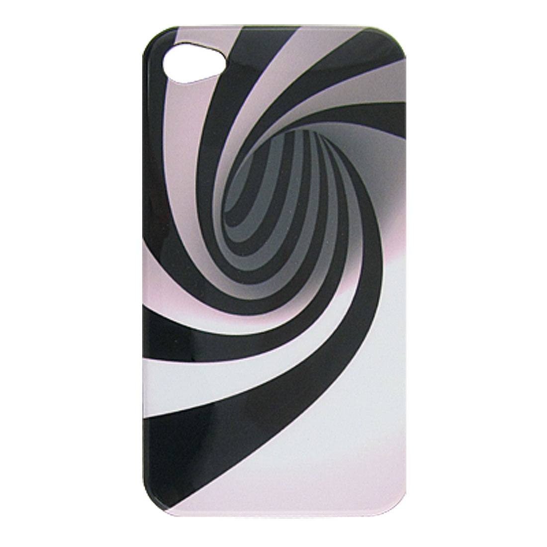 Swirl Black Stripe Plastic Back Cover for iPhone 4 4G