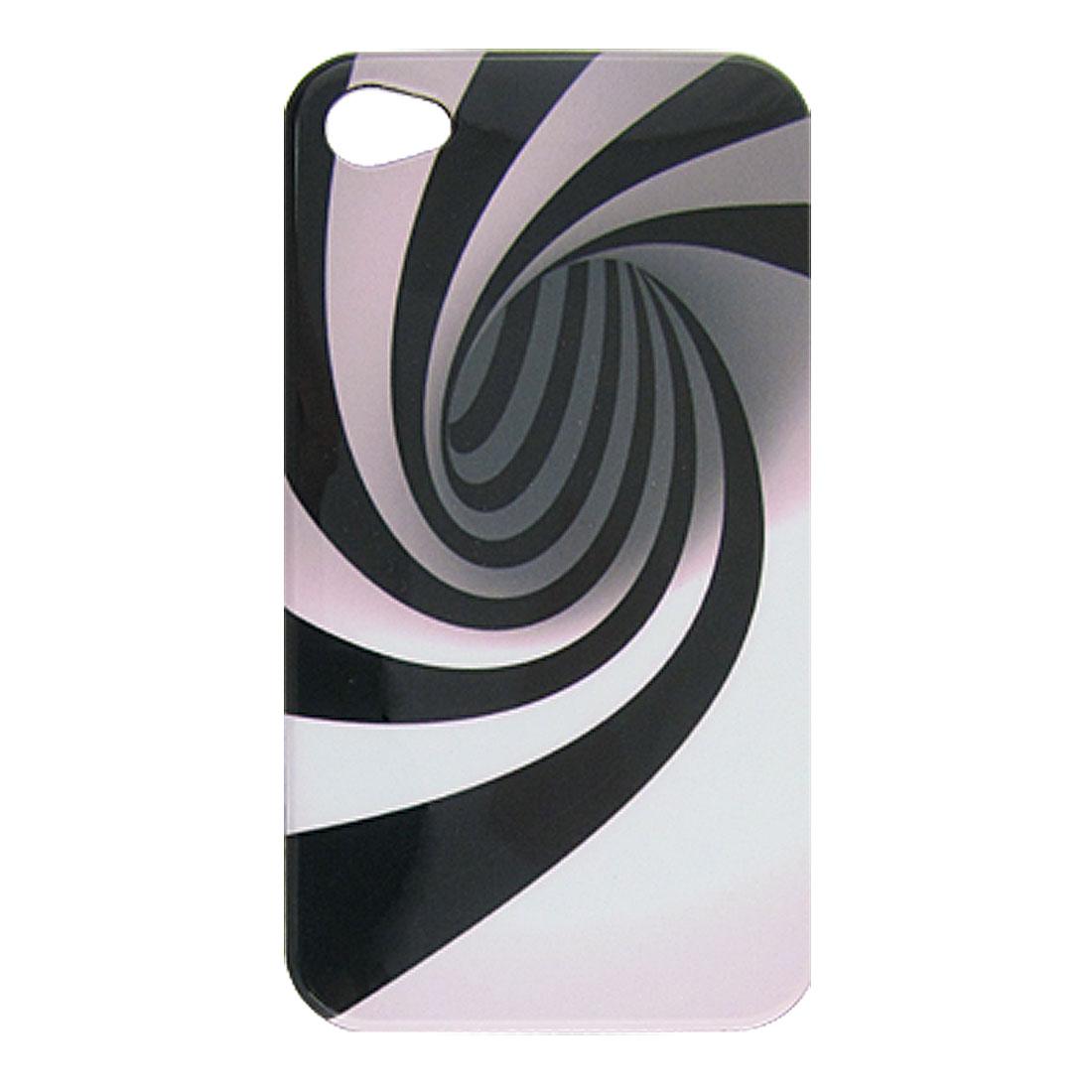 Swirl Black Stripe Plastic Back Cover for iPhone 4 4G
