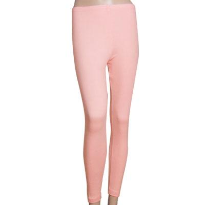 Woman Elastic Waist Full Length Hugging Leggings Skinny Pants Pink XS