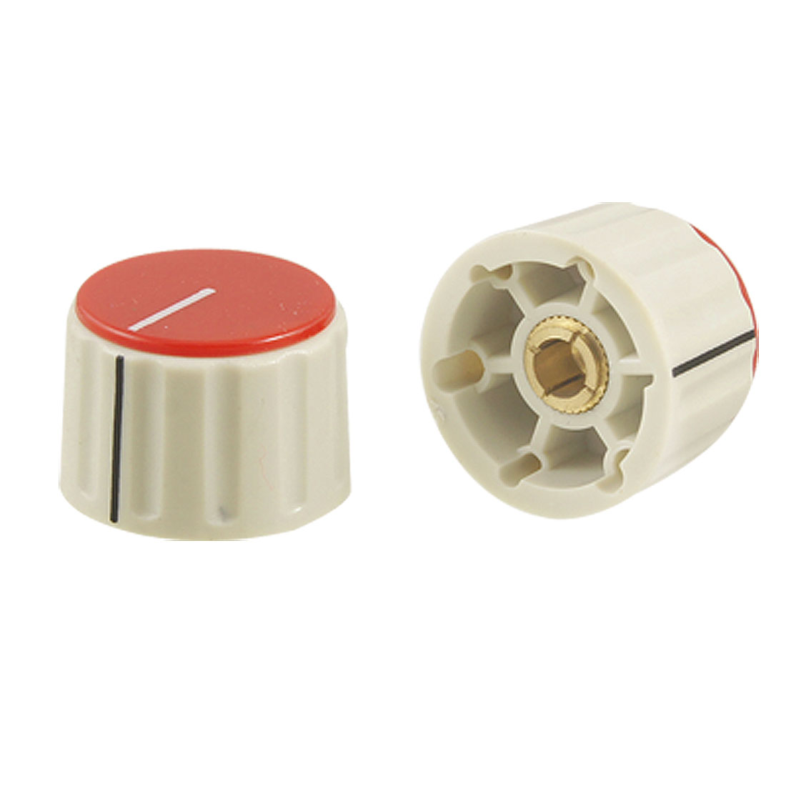 6 Pcs Red Gray Plastic 360 Degree Rotary Switch Turning Knobs