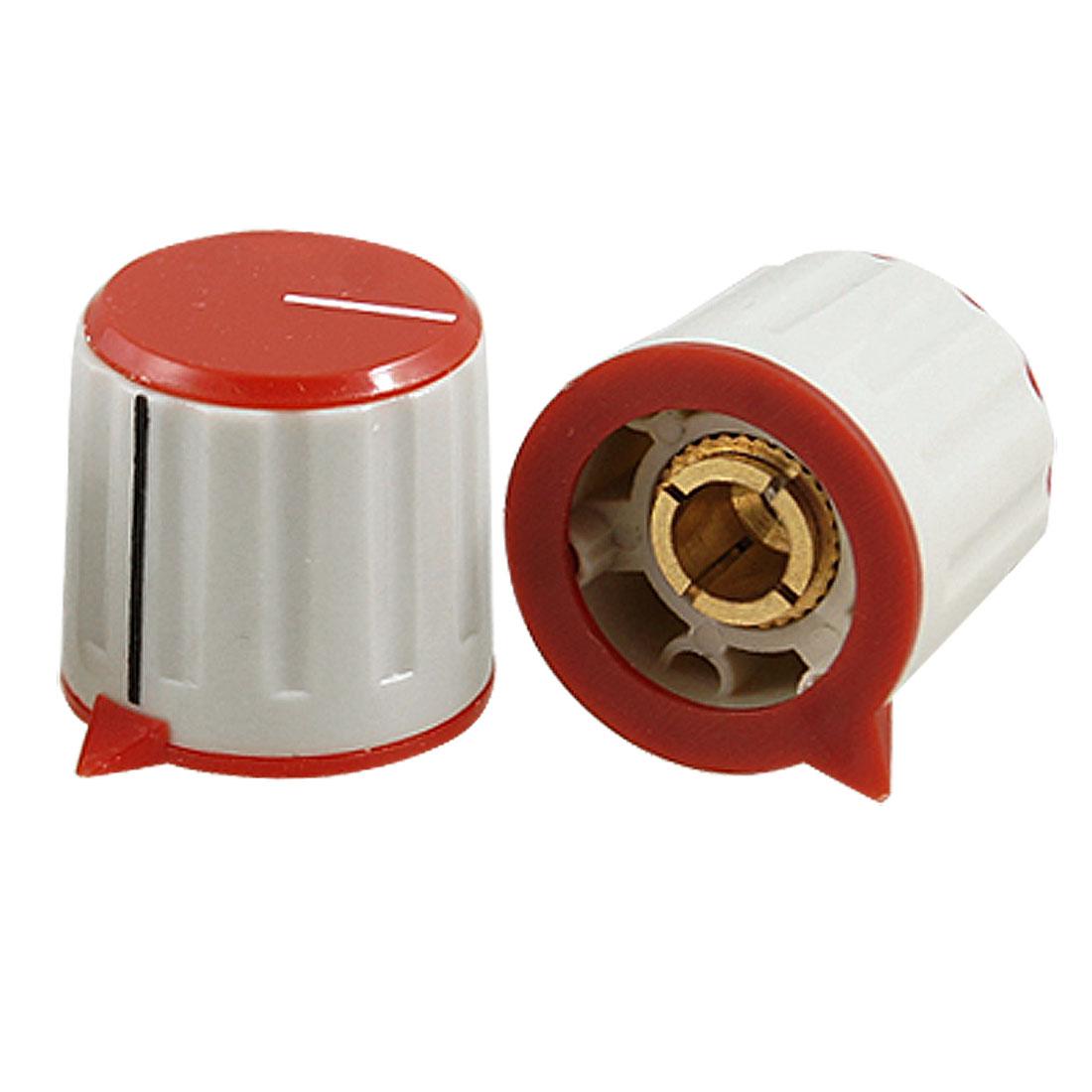 4 Pcs Red Gray Plastic Split Shaft Potentiometer Control Knobs