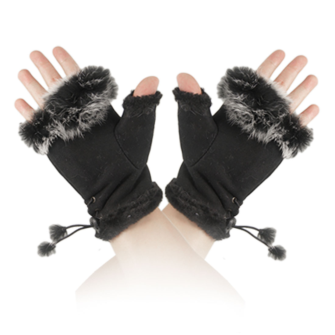Women Girls Winter Faux Fur Hand Wrist Warmer Fingerless Gloves Pair