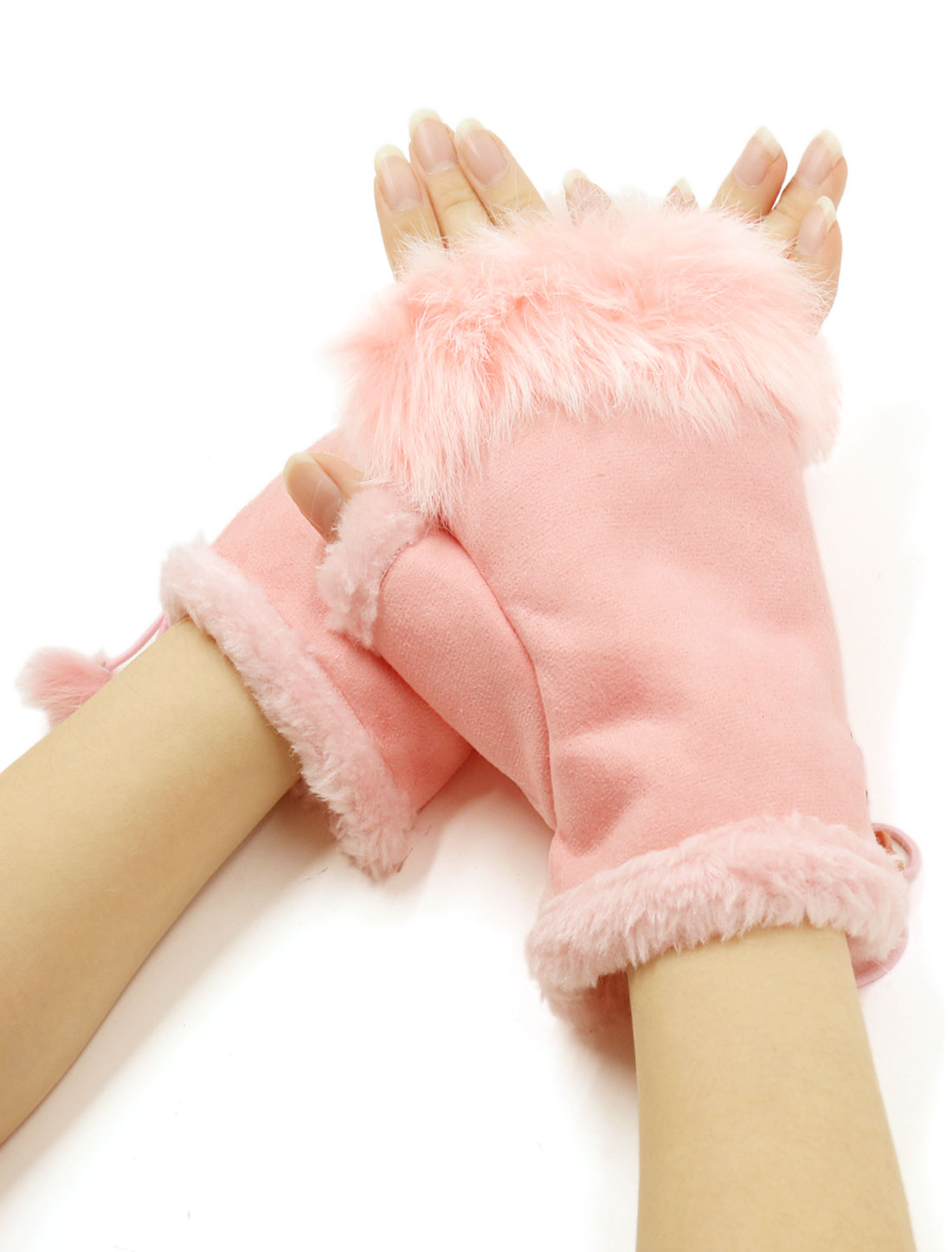 Women Girls Winter Faux Fur Hand Wrist Warmer Fingerless Gloves Pair