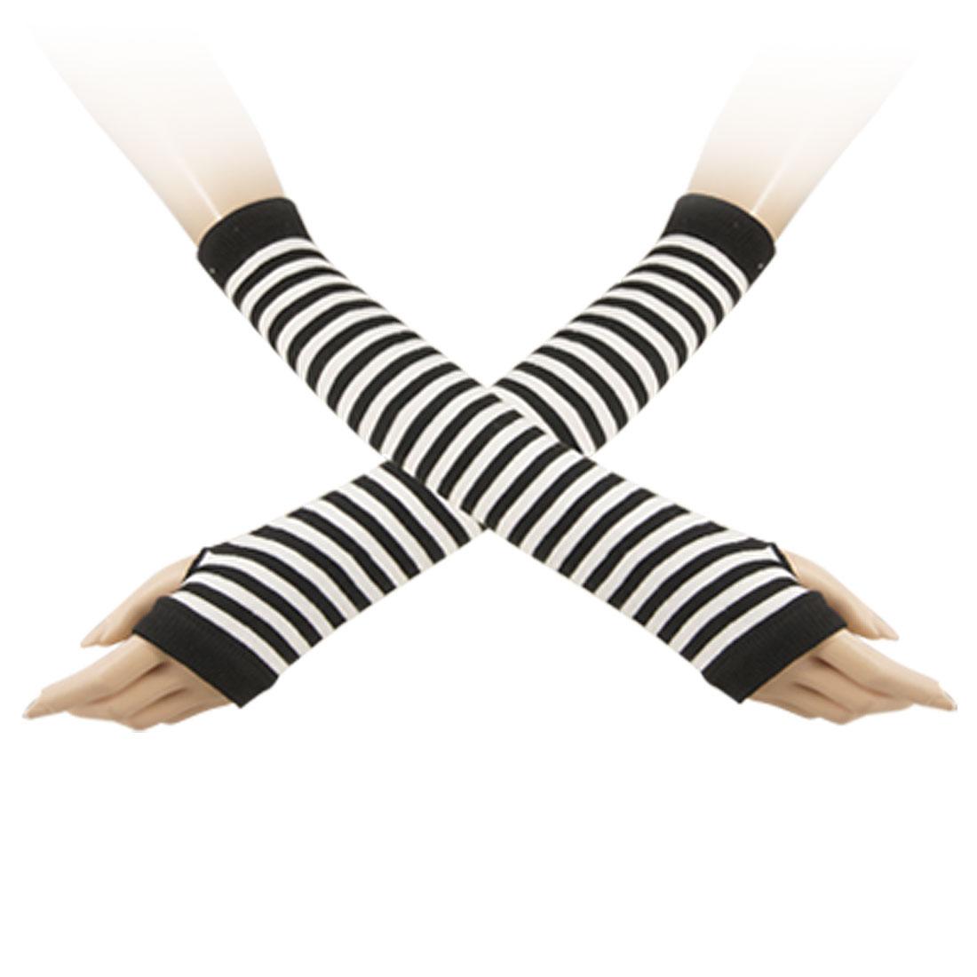 Black White Stripe Print Ribbed Hem Long Fingerless Gloves Mitten Arm Warmmer for Lady