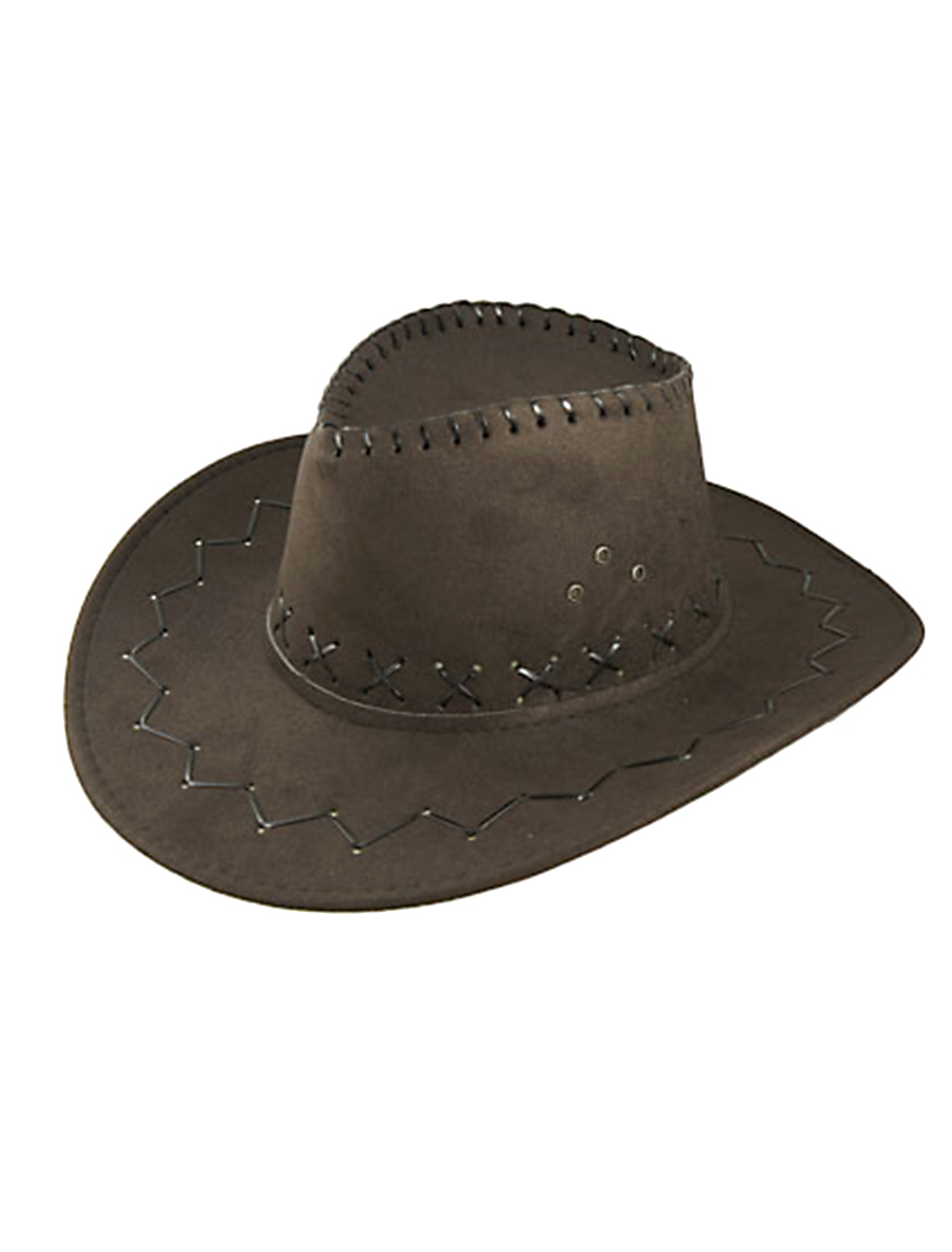 Faux Suede Multi-eyelets Adjustable Strap Cowboy Hat for Men
