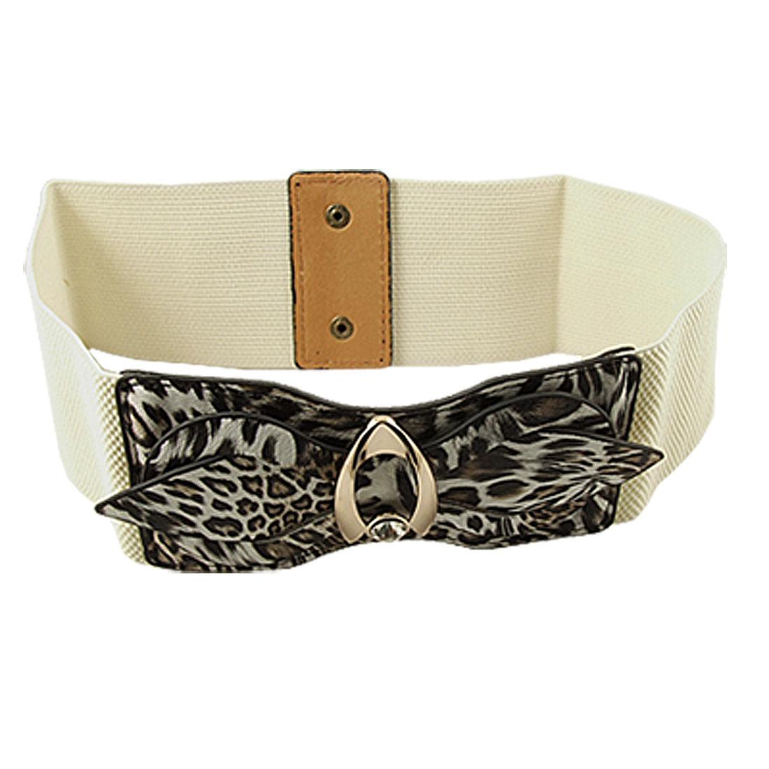 Women Leopard Printed Faux Leather Bowknot Decor Elastic Waist Belt