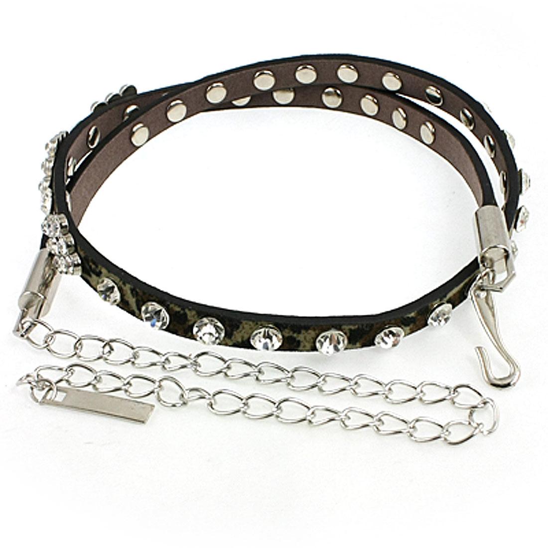 Woman Rhinestone Detail Leopard Print Faux Leather Adjustable Belt