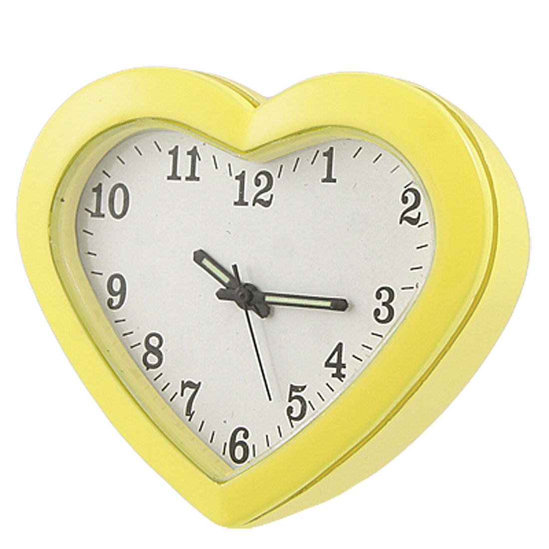 Heart Shape Luminous Hands Metal Table Clock Yellow