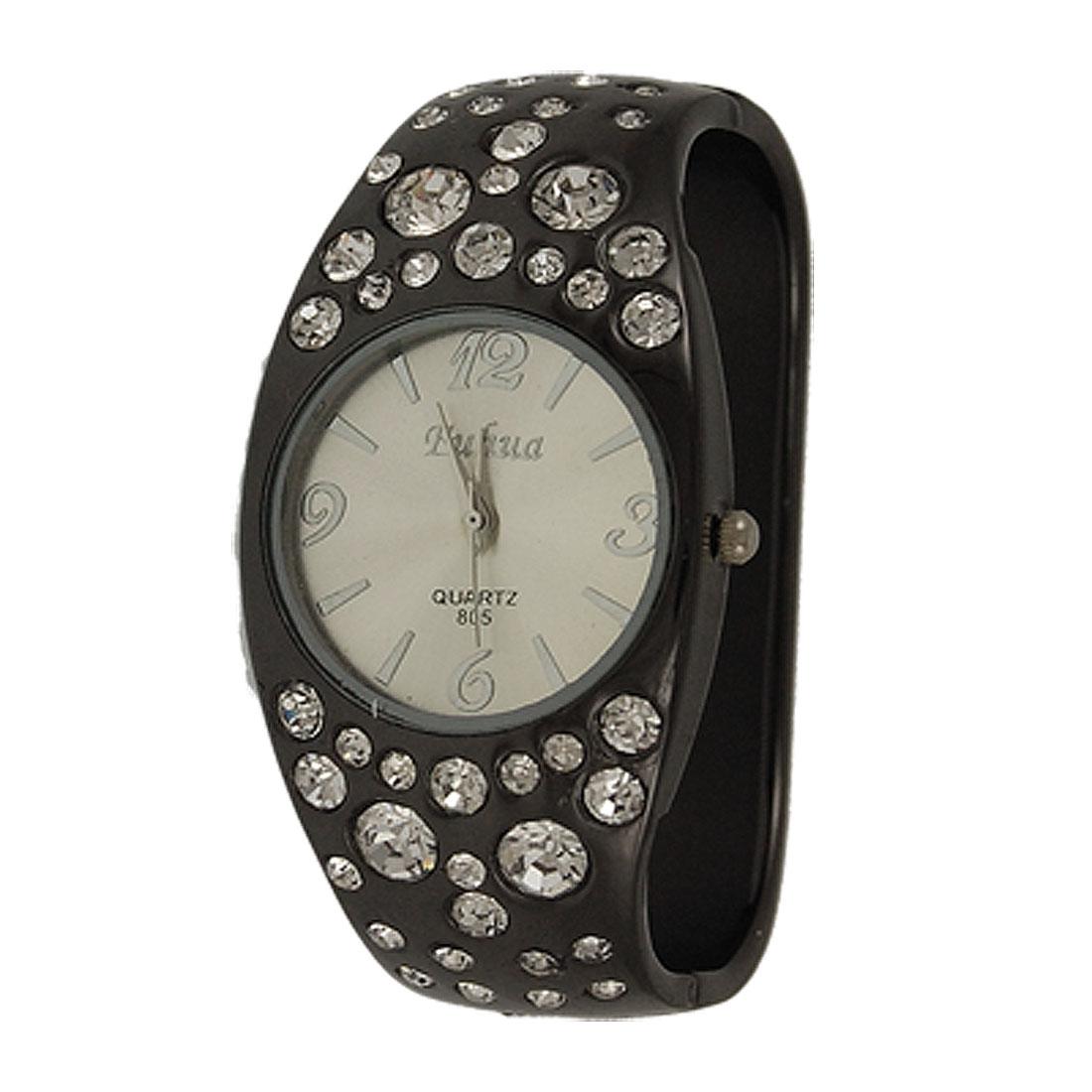 Woman Silver Tone Rhinestone Accent Round Case Dark Gray Bracelet Watch