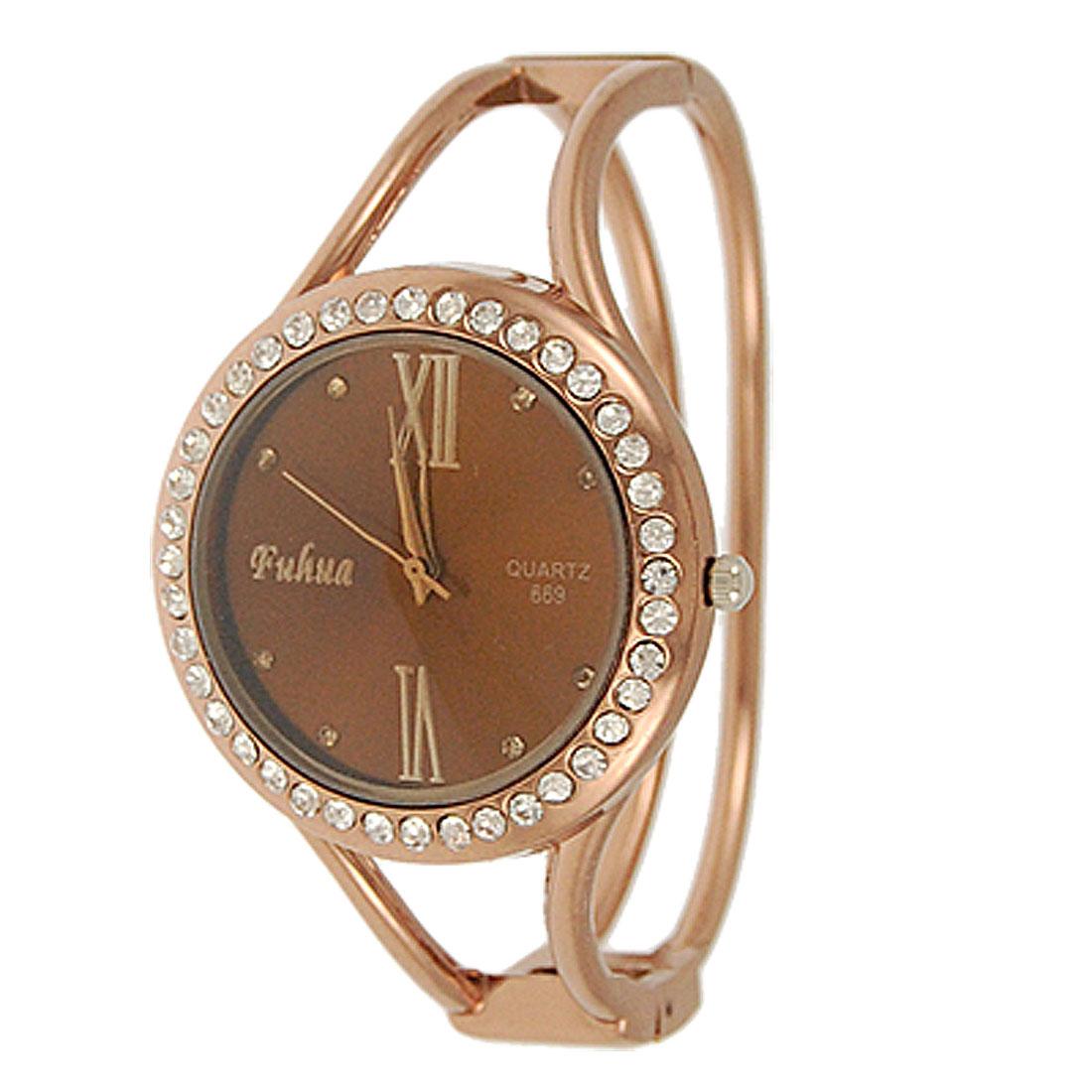 Woman Rhinestone Decor Spring Loaded Alloy Bracelet Watch Copper Tone