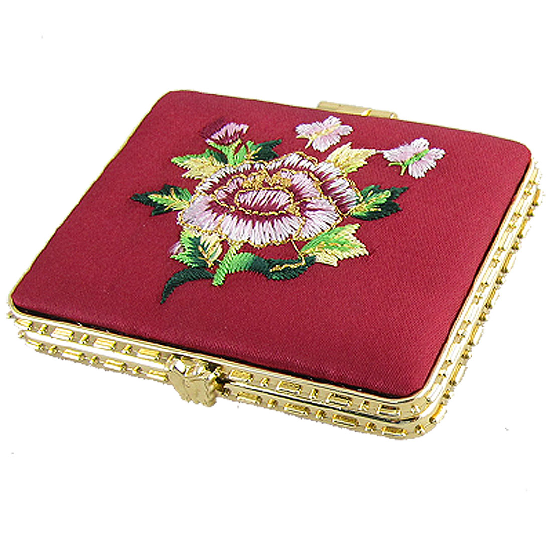Rectangle Gold Tone Hem Foldable Compact Mirror Burgundy
