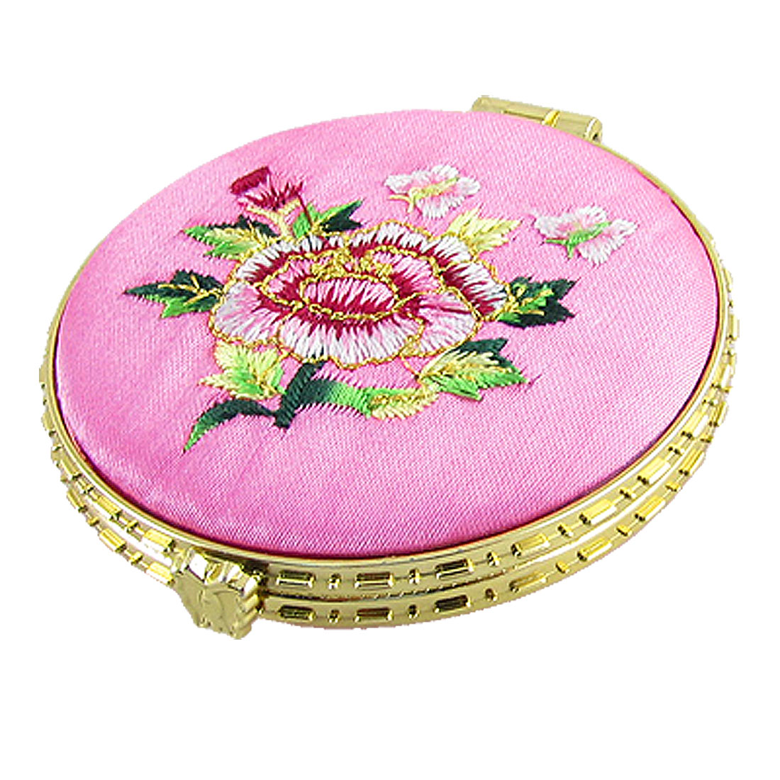 Pink Faux Silk Coated Round Double Side Flower Makeup Mirror