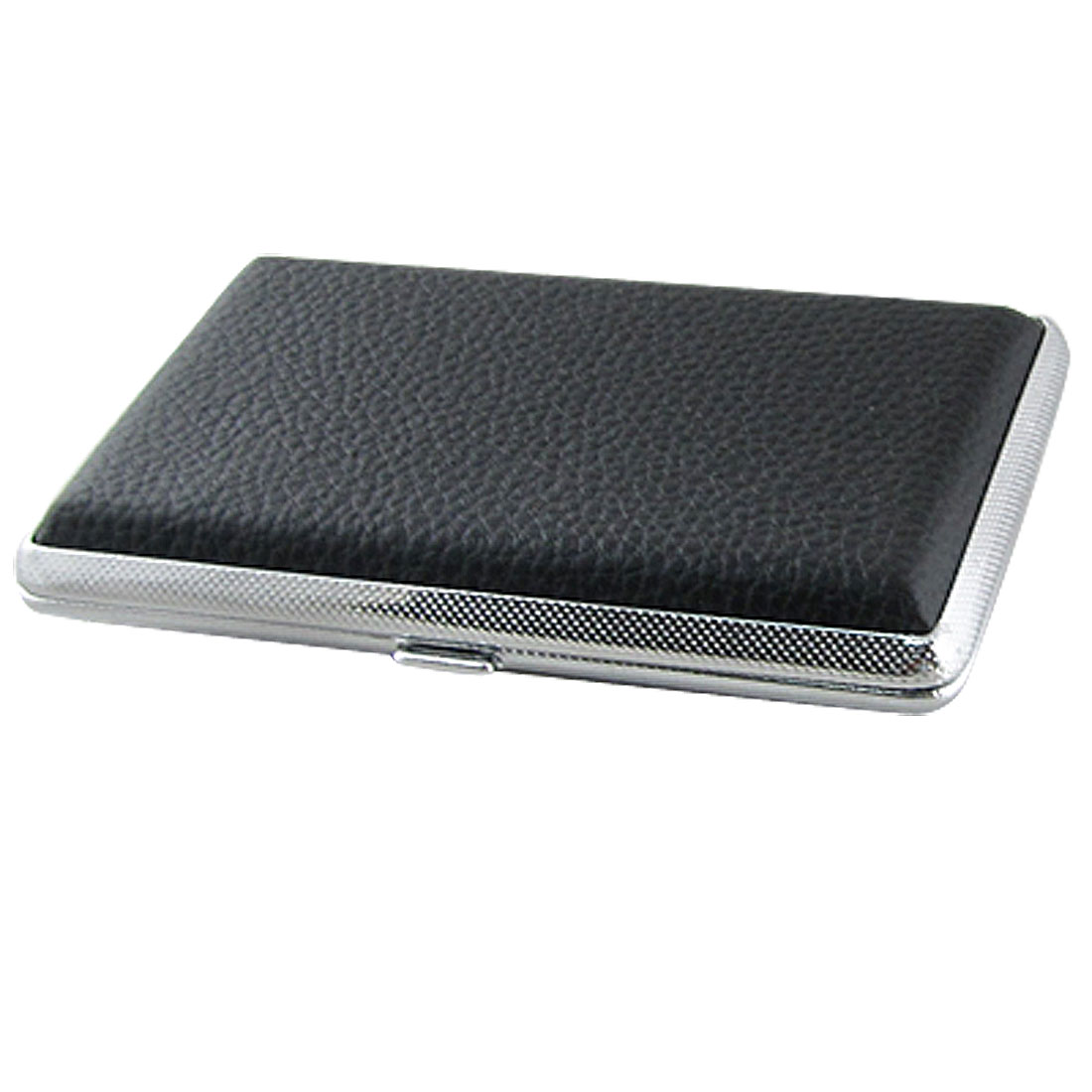 Faux Leather Metal Cigarette Box Case Holder Gift Black for Men