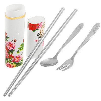 Stainless Steel Chopsticks Spoon Fork Red Pink Peony Print Case Set