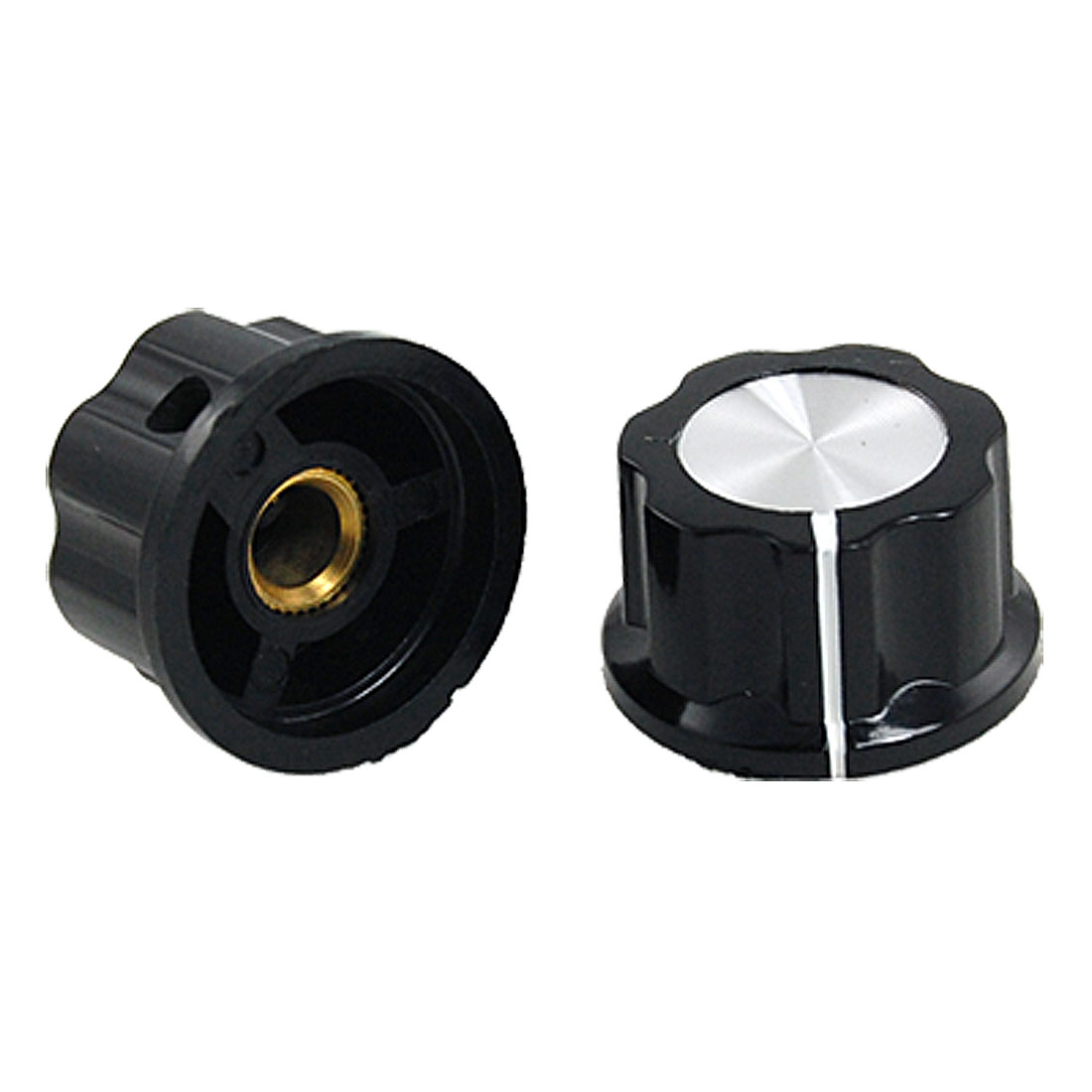 "2 X Black 7/8"" Plastic Potentiometer Volume Rotary Turning Knobs"