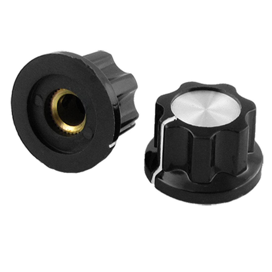 2 x Potentiometer Control Volume Rotary Knob Cap Black