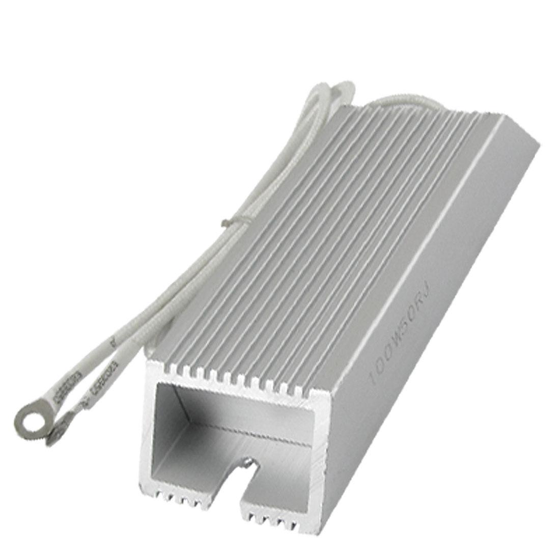 Silver Tone Aluminum Body Braking Resistor 100W 50 ohm