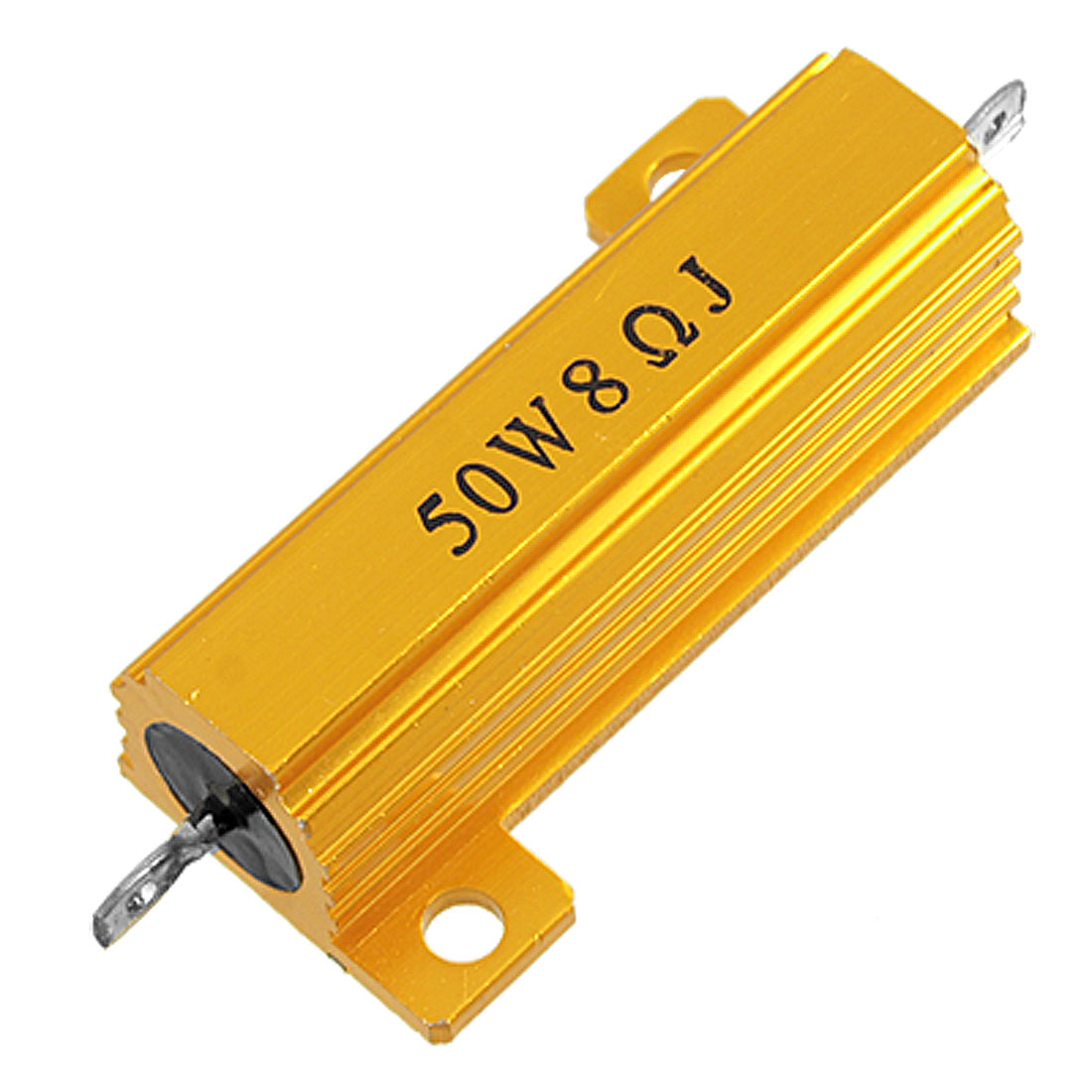 50 Watt 8 Ohm 5% Aluminum Housed Wirewound Power Resistor Gold Tone