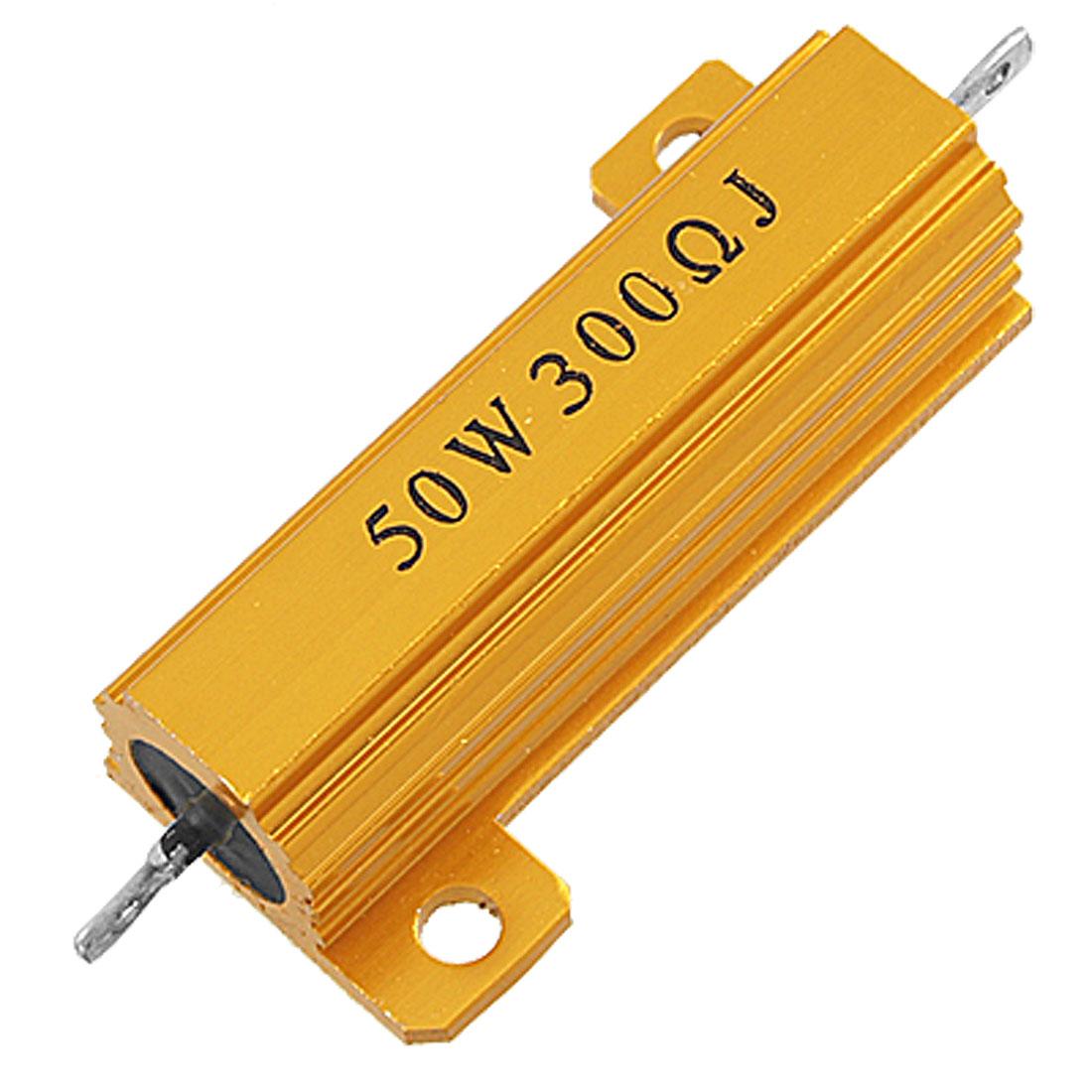50W 300 Ohms 5% Screw Tab Aluminium Clad Wirewound Resistor Gold Tone