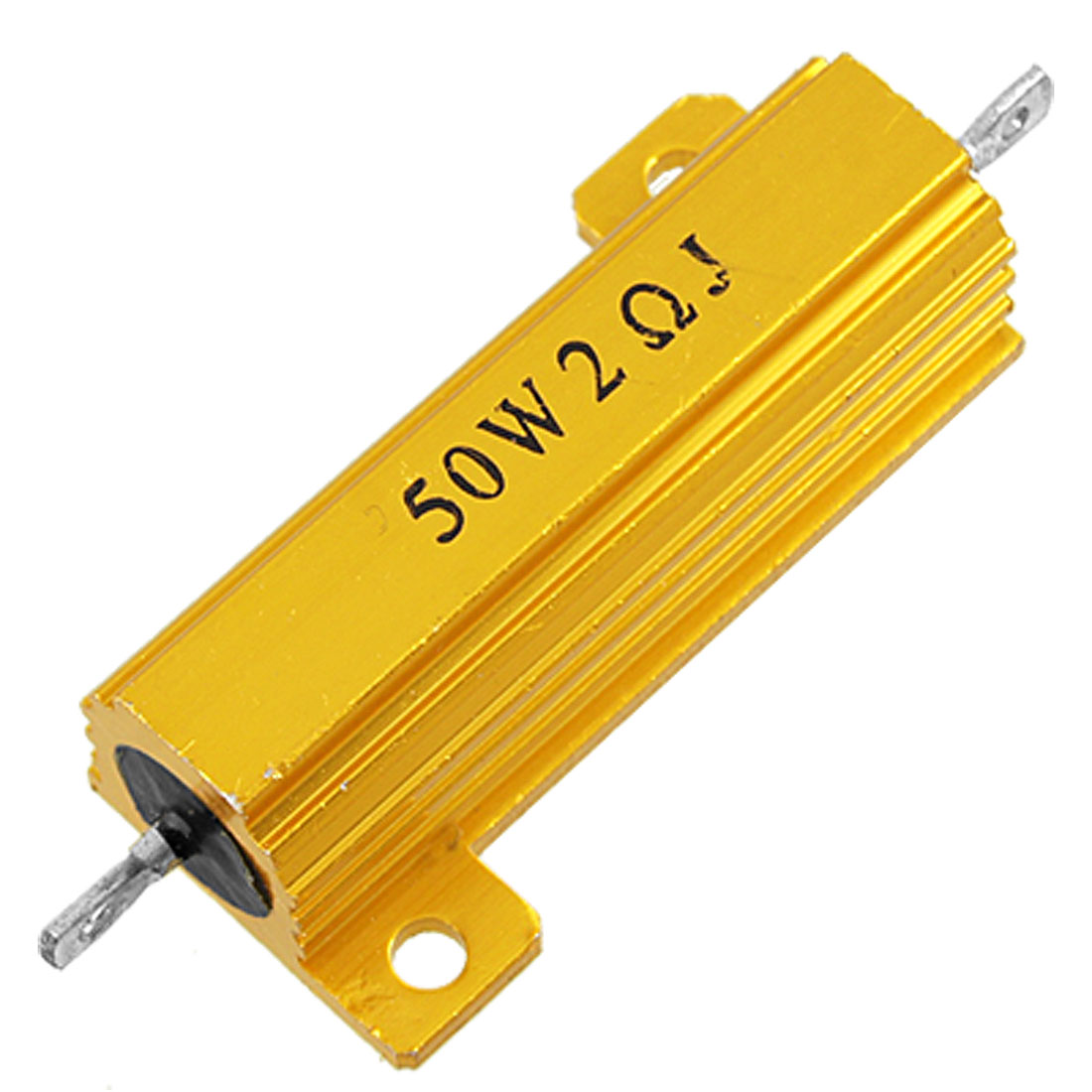Gold Tone Chassis Mount Wirewound Aluminium Housed Resistor 5% 50W 2 Ohm