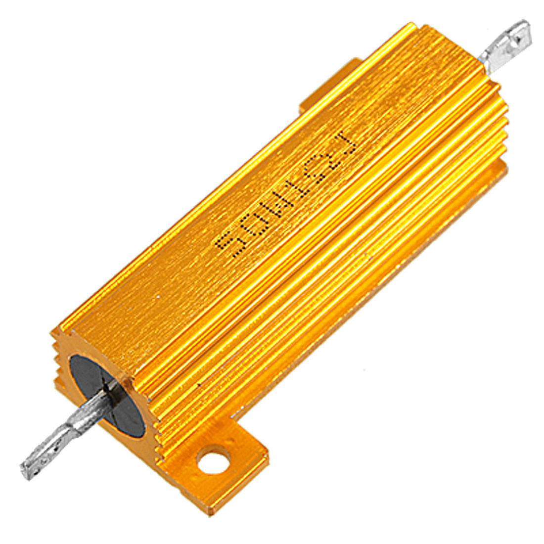 50W 1 Ohm 5% Chassis Mount Aluminium Clad Resistor Gold Tone