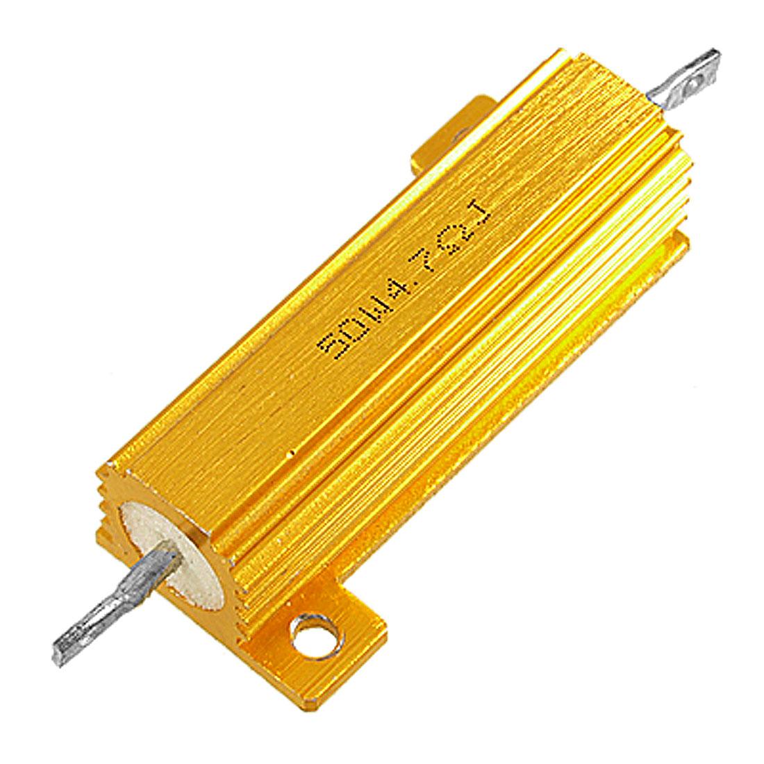 50 Watt 4.7 Ohm 5% Aluminum Housed Wirewound Power Resistor Gold Tone