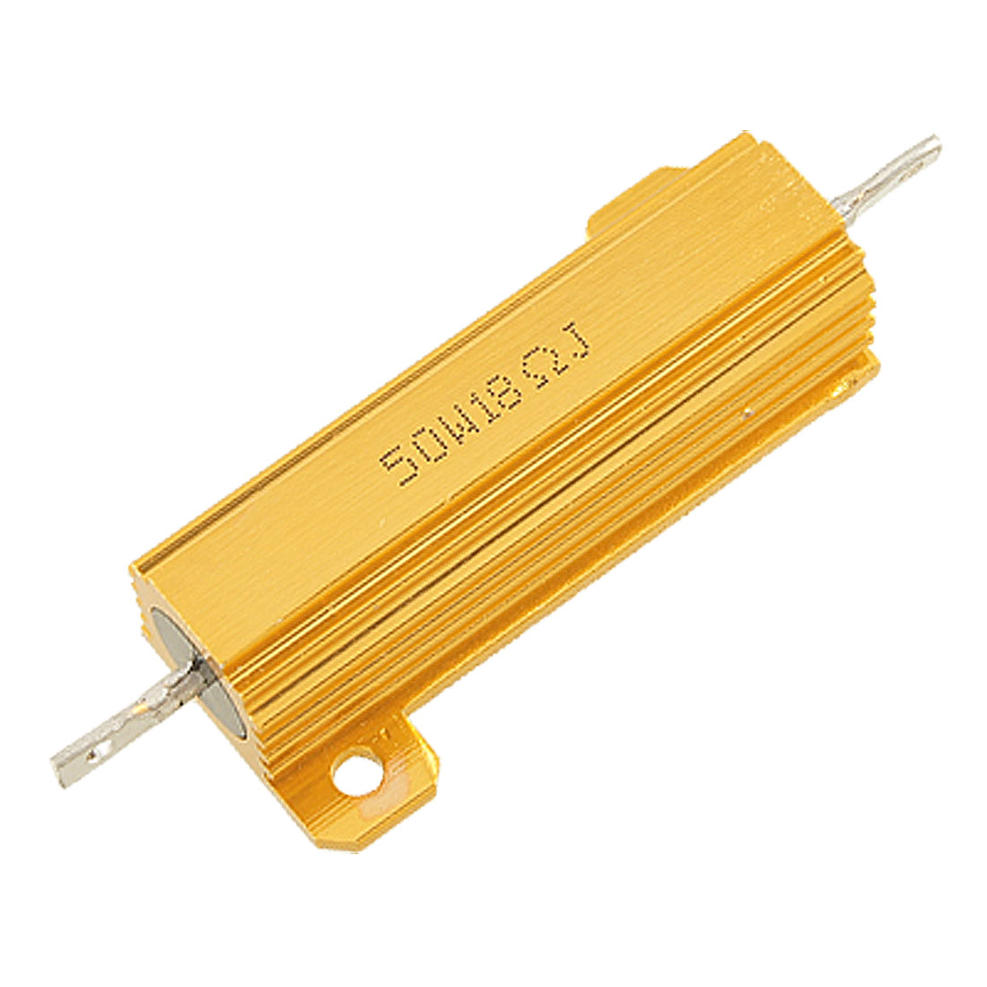18 Ohm 5% 50W Watt Aluminum Shell Case Wirewound Power Resistor Gold Tone