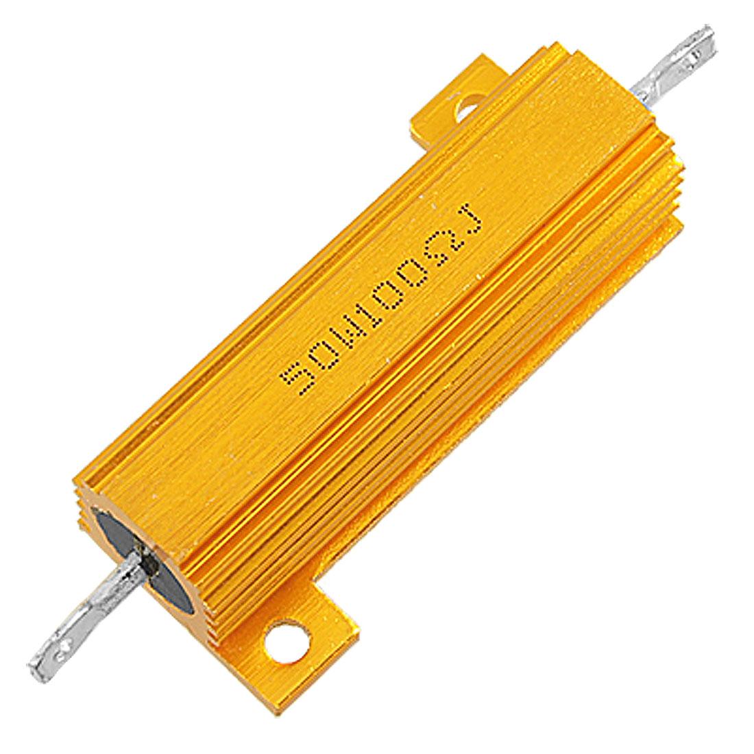 100 Ohm 5% 50W Screw Tab Aluminium Clad Wirewound Resistor Gold Tone