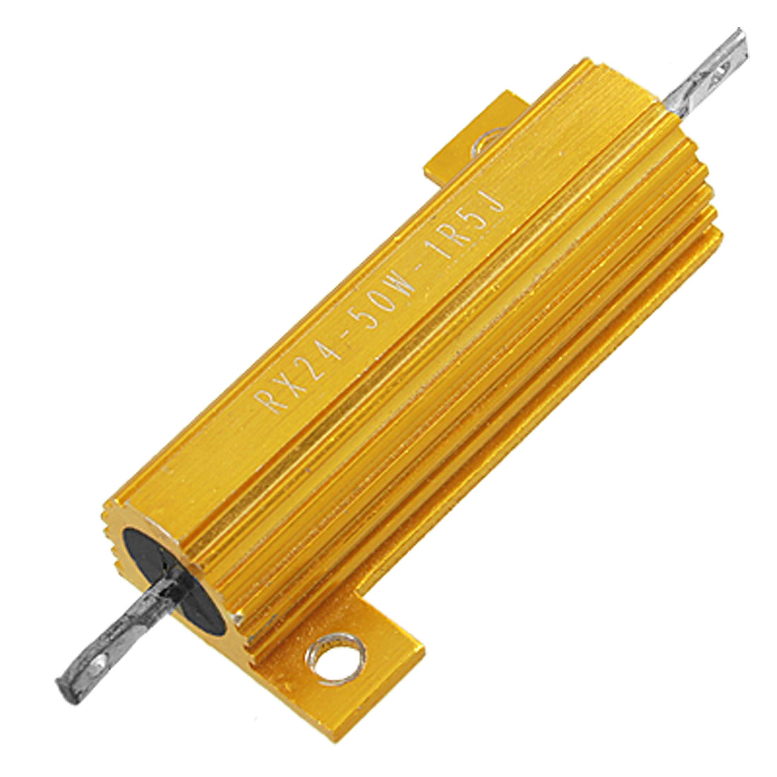 50W 1R5 1.5 Ohm 5% Wirewound Aluminium Housed Power Resistor Gold Tone
