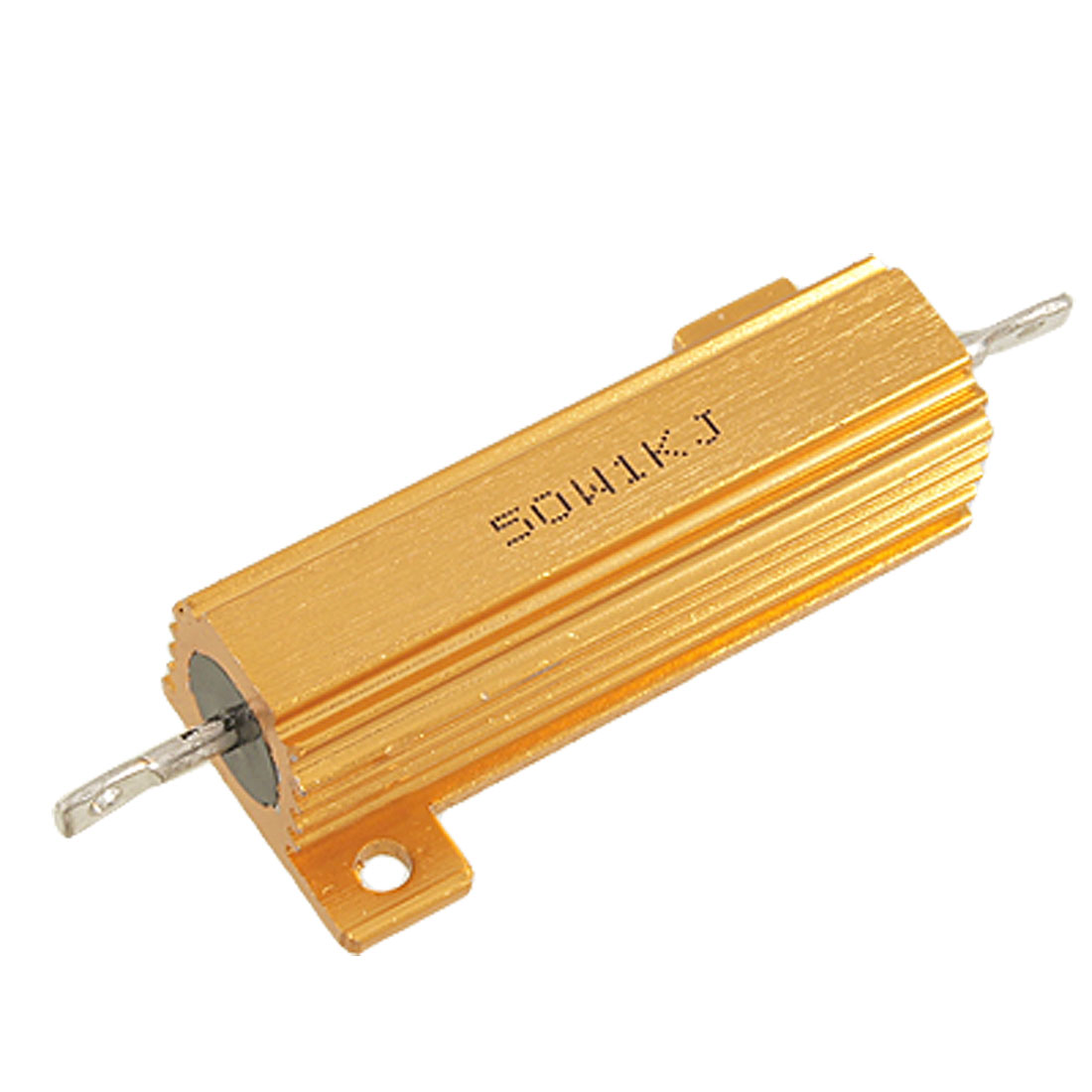 1000 Ohm 5% 50 Watt Wire Wound Aluminum Case Power Resistor Gold Tone