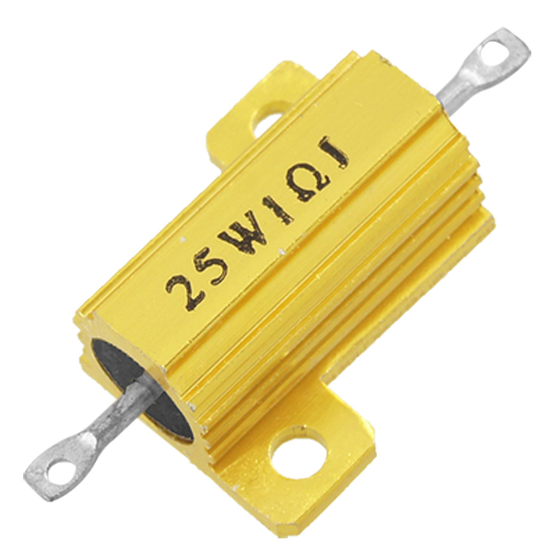 25W 1 Ohm 5% Gold Tone Aluminum Housed Wirewound Resistor