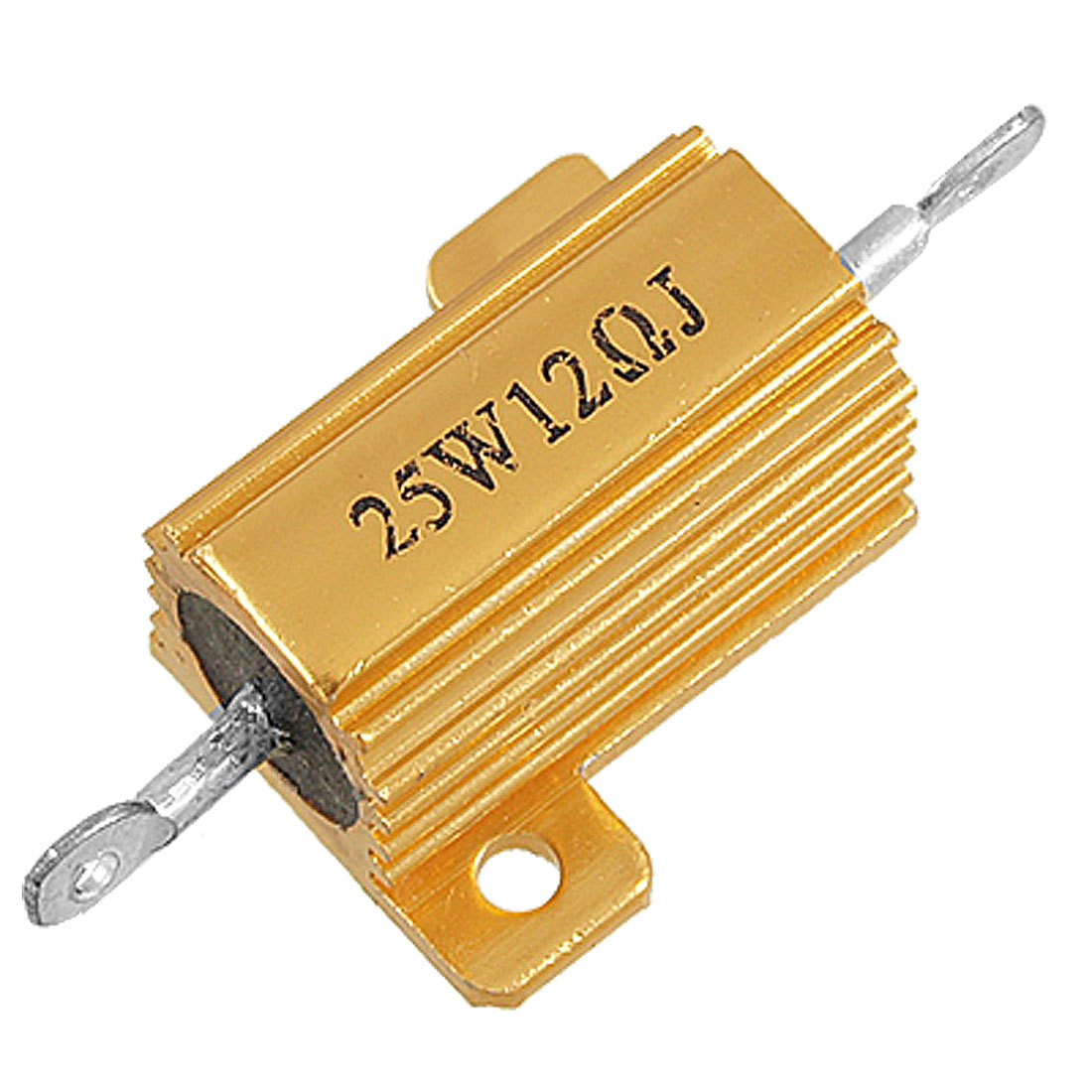 25W 12 Ohm 5% Chasis Mounted Aluminum Housed Wirewound Resistor Gold Tone