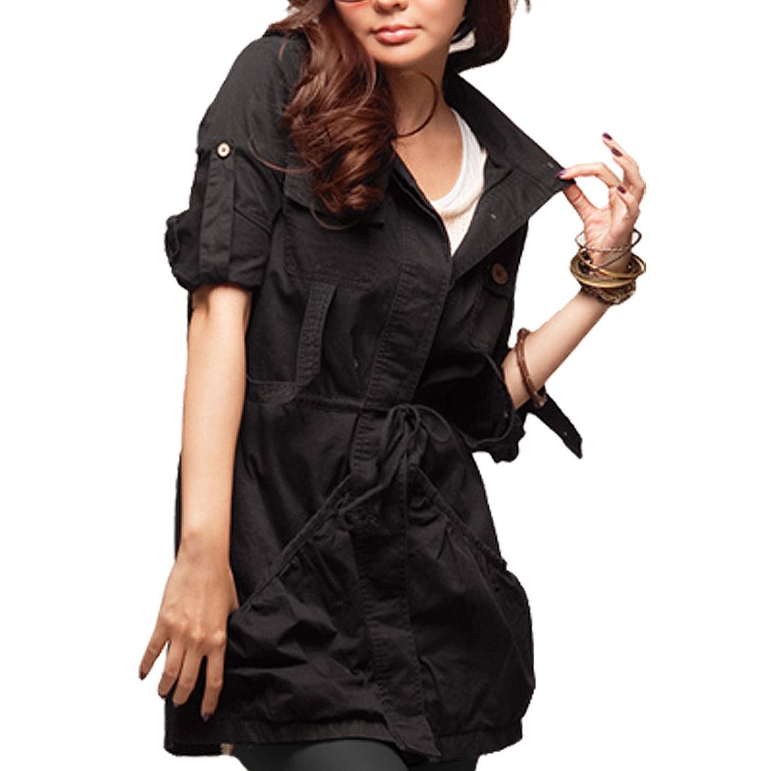 Women Stand Collar Long Sleeve Drawstring Waist Button up Coat S