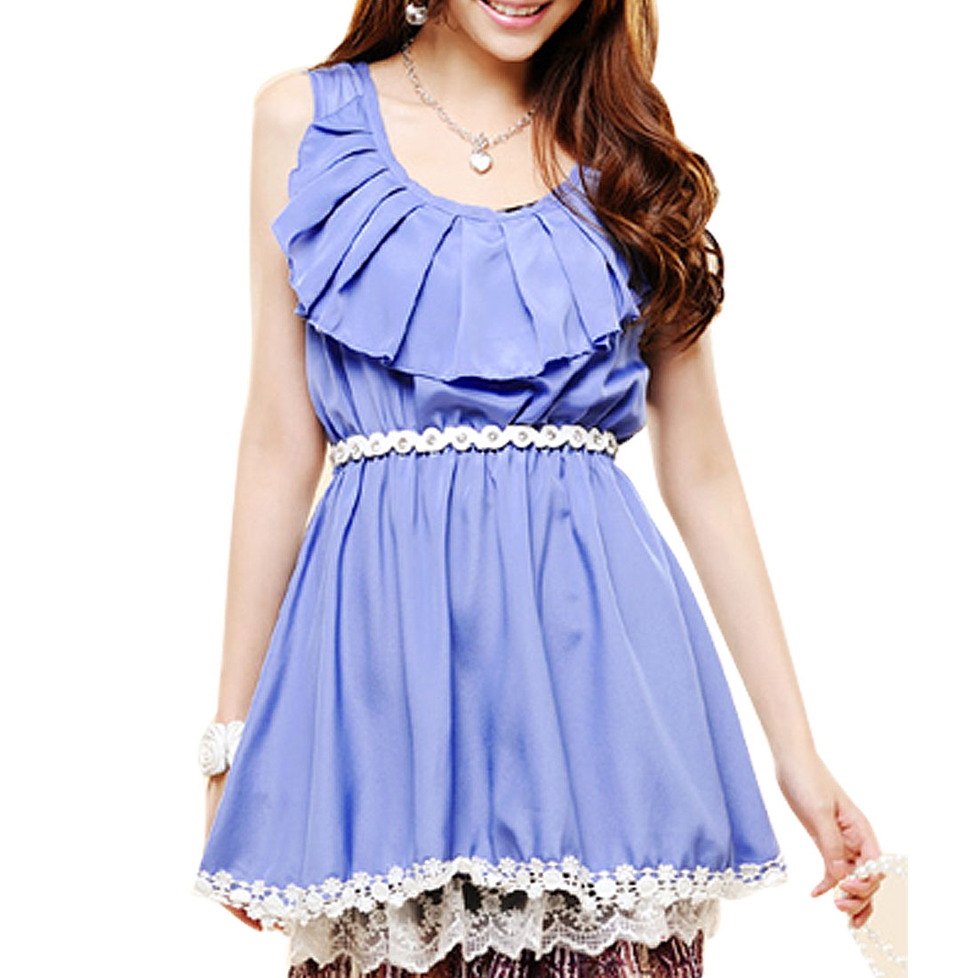 Woman Periwinkle Color Ruffle Scoop Neck Sleeveless Tunic Shirt S