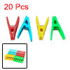 20 Pcs Assorted Colors Plastic Clothing Pegs Clips Clothes Pins