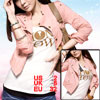 Woman Button Tab Epaulet Long Sleeve Cropped Jacket Pink S