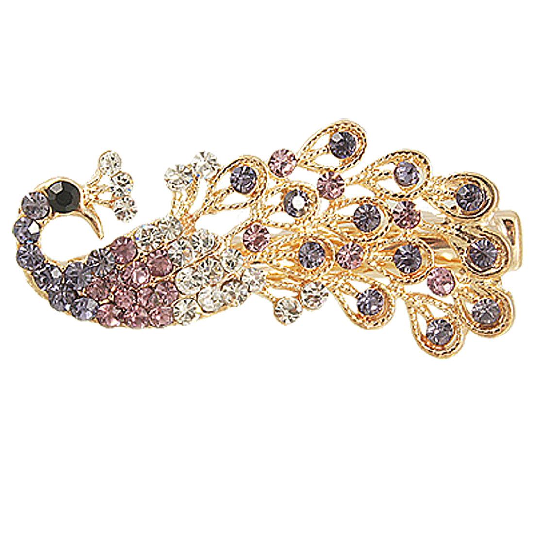 Purple Silver Tone Rhinestone Inlaid Peacock Shape Mini Brooch