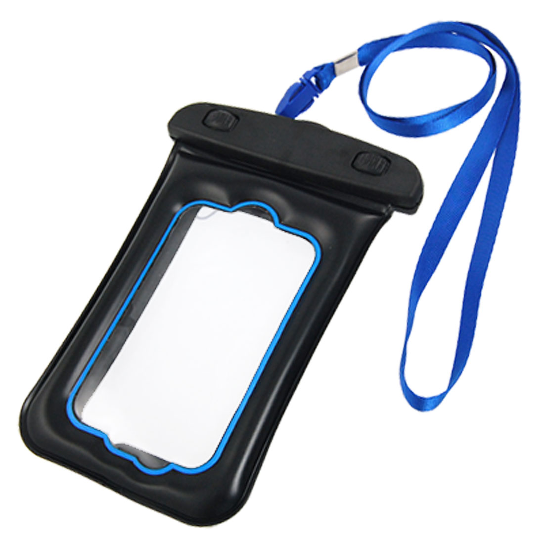 Black Blue Protective Neck Strap Plastic Water Resistant Bag for Cell Phone