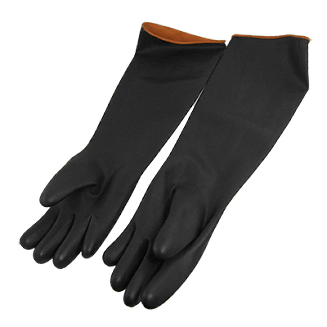 "20.5"" Length Protective Industry Anti Chemical Acid Alkali Rubber Work Gloves Black"