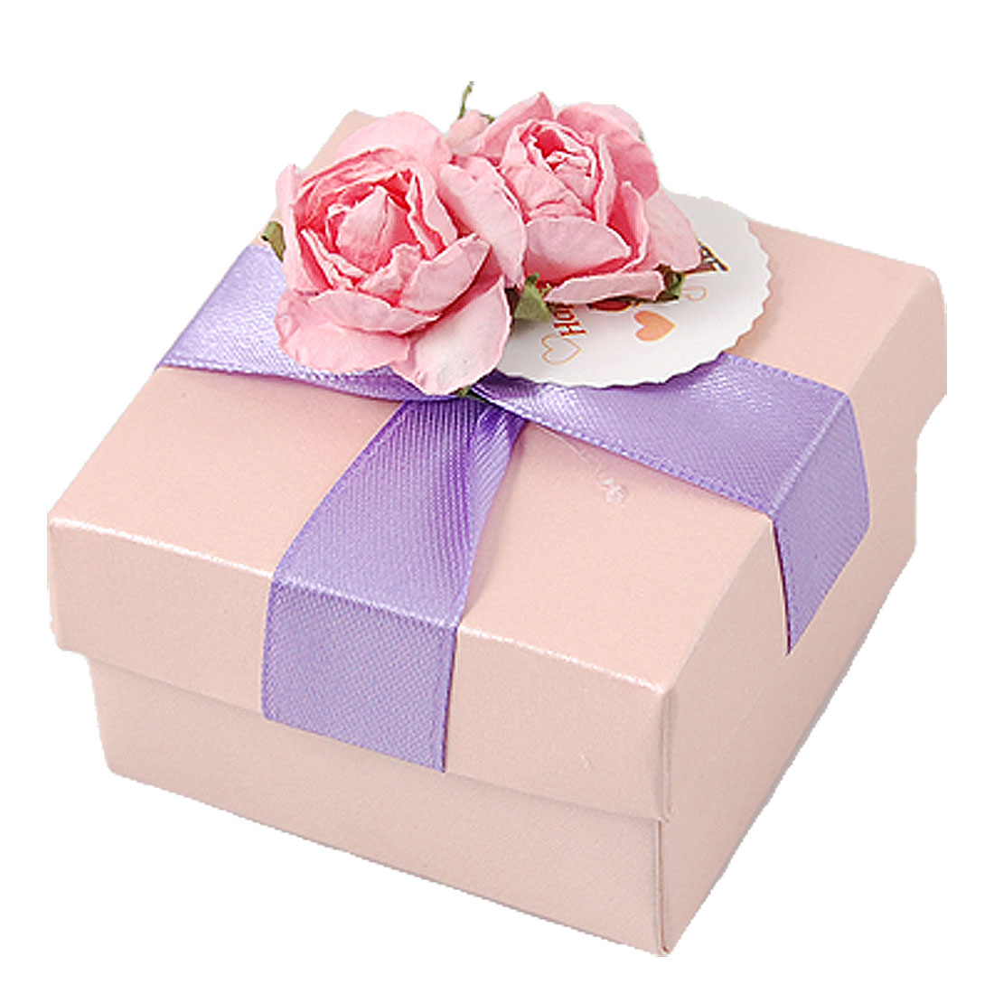 Flower Embellished Square Shaped Paper Gift Present Box Pink