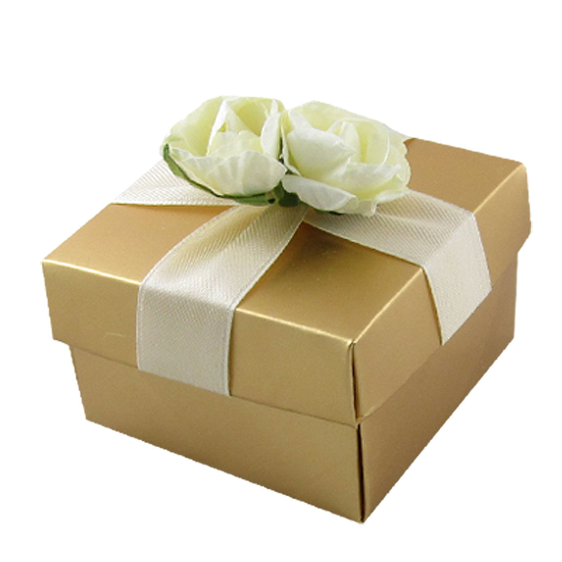 Jewelry Watch Package Off White Floral Decor Paper Gift Box Gold Tone