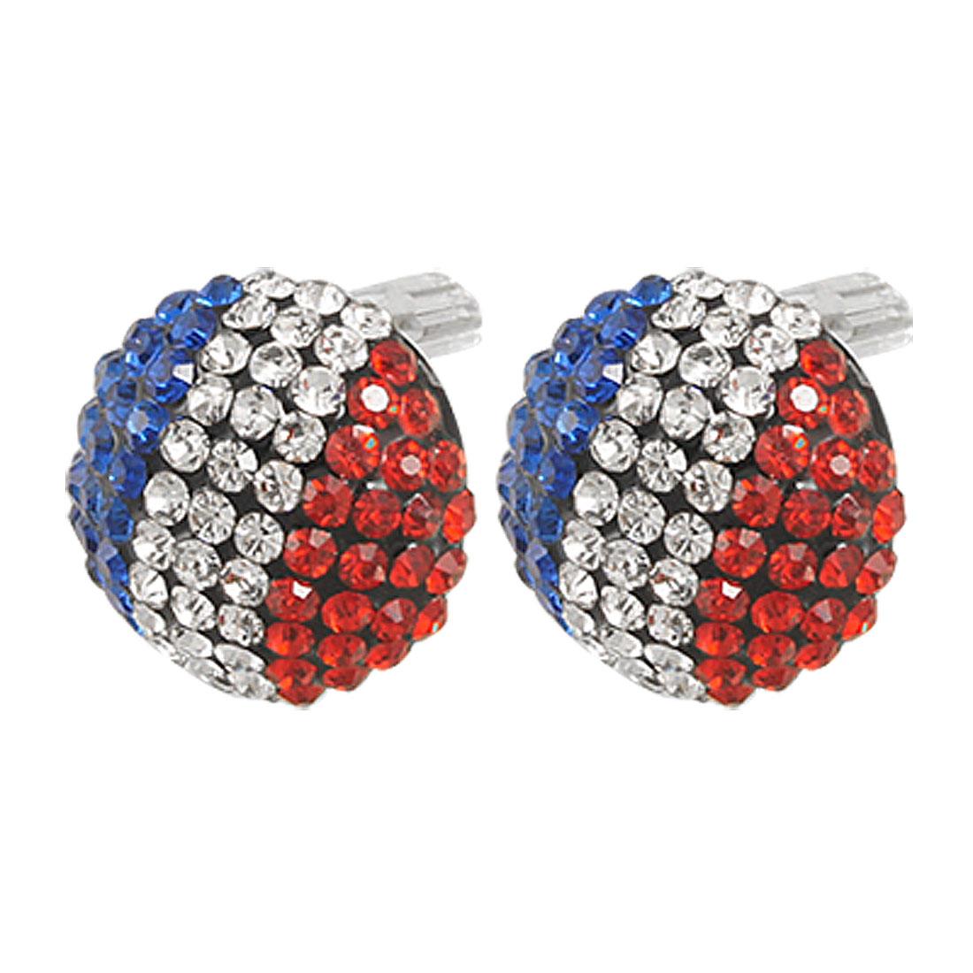 Women Blue Red Silver Tone Rhinestone Color Block 15mm Half Ball Studs Earrings Earstuds Pair