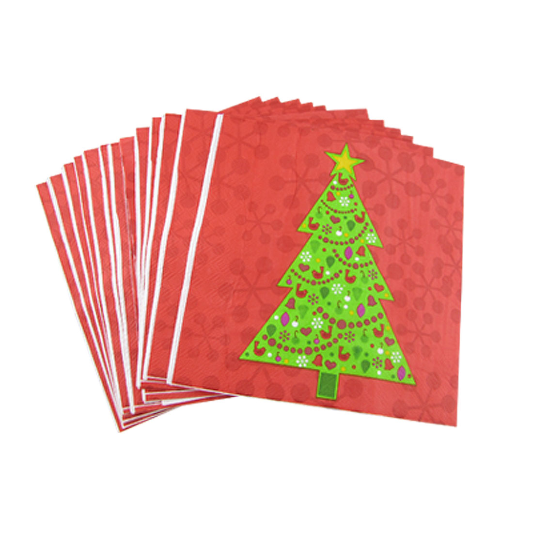 20 Pcs Green Christmas Tree Print Red Paper Dinner Serviettes Napkins 12.9""