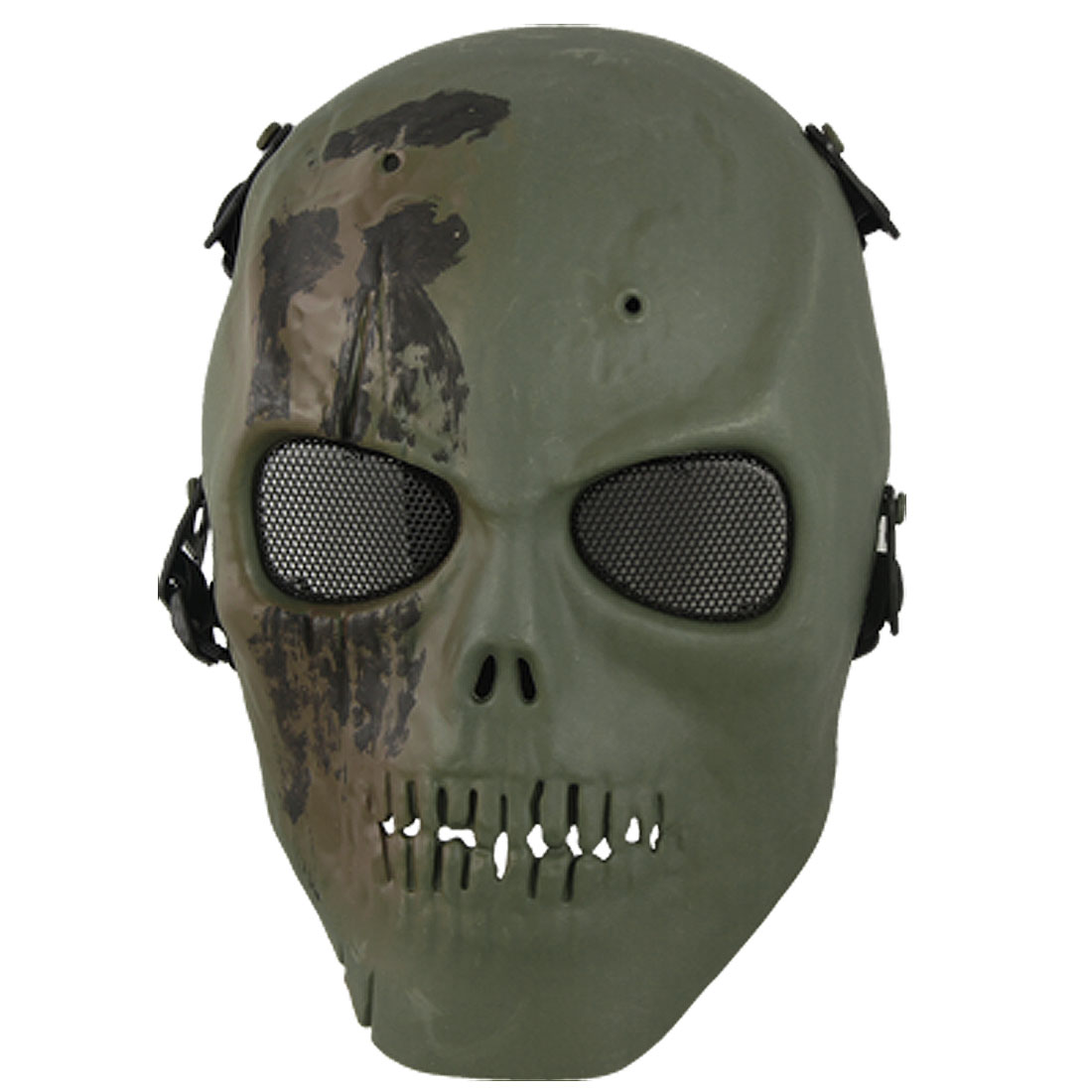 Adults Foam Padded Forehead Metal Wire Mesh Eyes Skull Full Mask Green for War Game